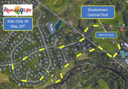 iRun4Life Kids Only 3K Race Route Map